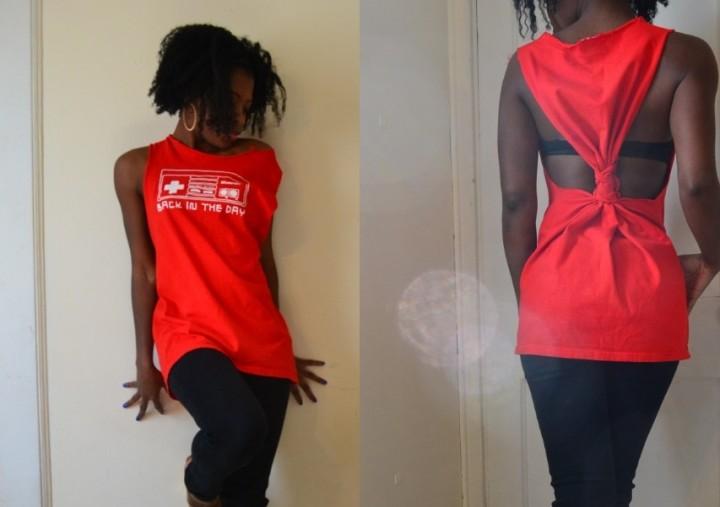 DIY ρούχα: Φτιάξε μια μπλούζα ''κλεψύδρα'', από ένα τεράστιο T-shirt
