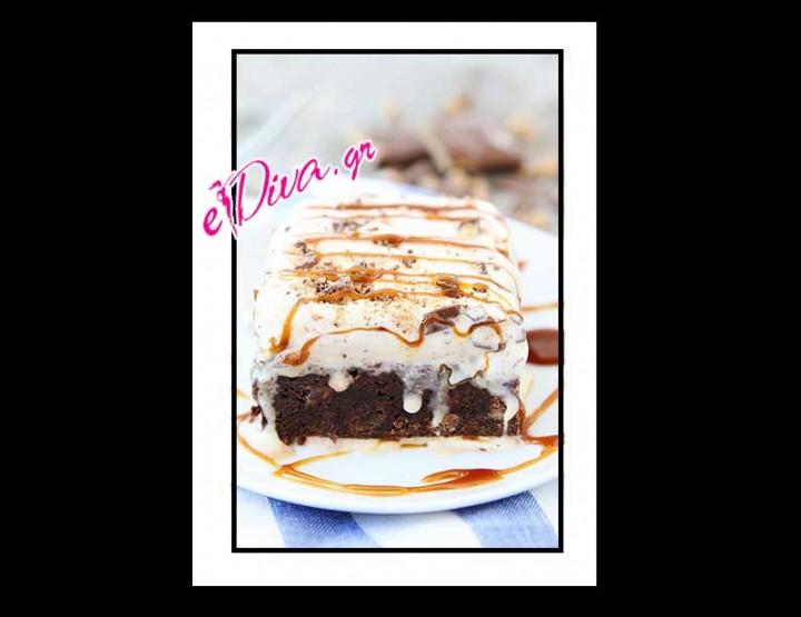 Συνταγή Brownies με καραμέλα και Παγωτό!