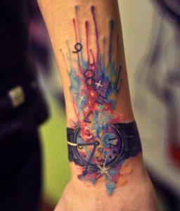 watercolor tattoo roloi