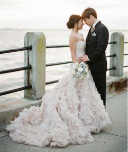 dramatic wedding dress and updo