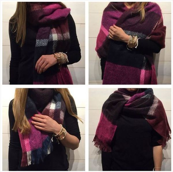 blanket scarf turned into a shawl