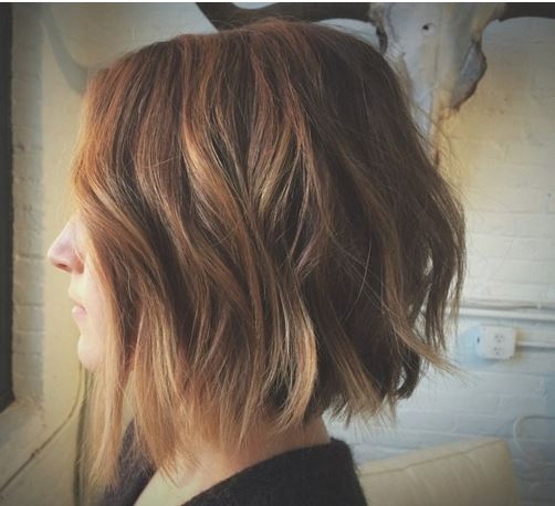 Choppy Light Brown Bob with Light Waves