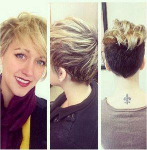short hair and side long bangs