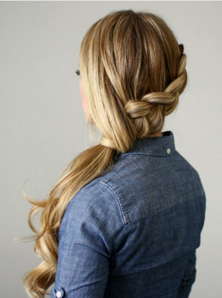 side-swept braid ponytail