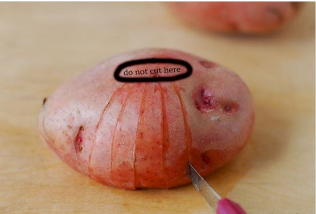 cutting a potato