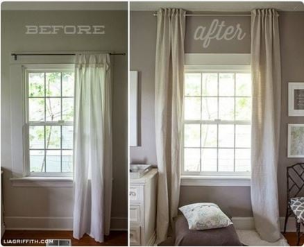 hanging curtains low