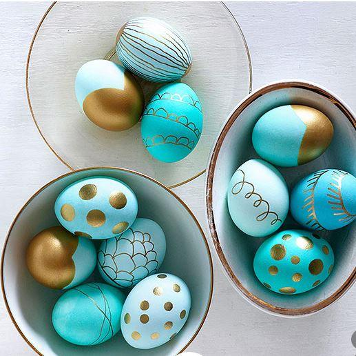 metallic dipped eggs