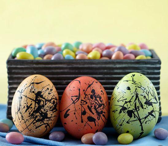 paint-splattered eggs
