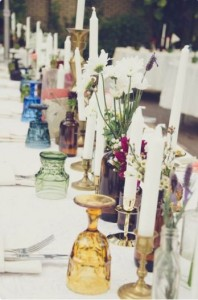 colored glassware wedding