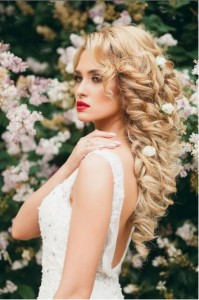 flowers on bridal hair