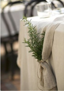 herbs on wedding tables