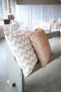 pillows on wedding