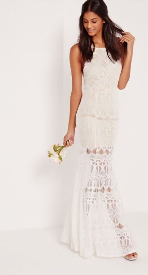high neck lace maxi dress