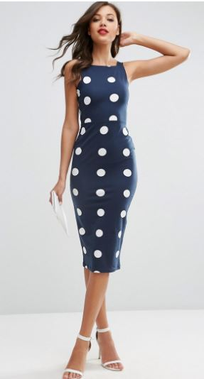 spot bodycon dress