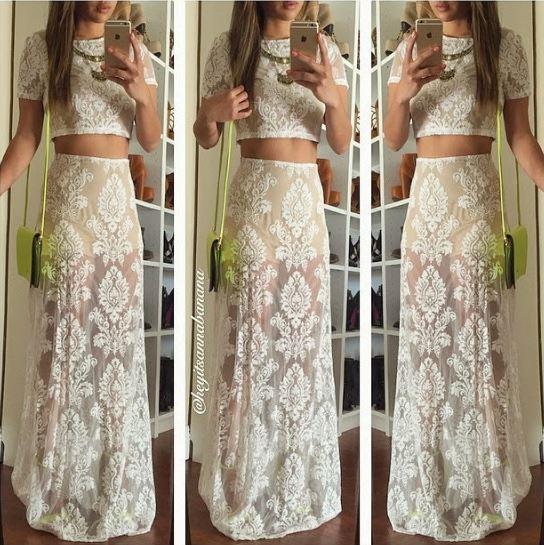 maxi skirt and crop top