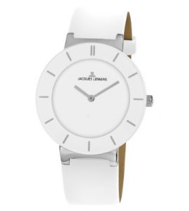 Jacques LEMANS Monaco White Leather Strap