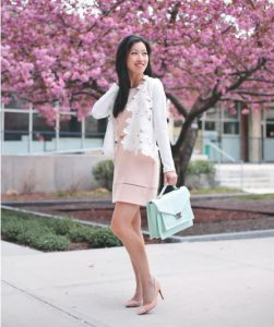 dress in pastel colours