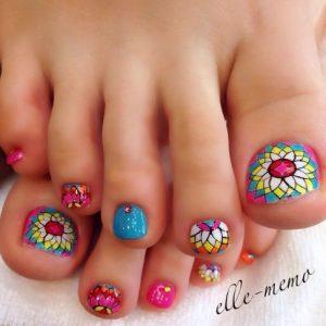 floral pedicure manicure