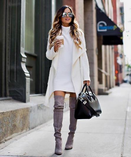 4e473db1537 Ο κλασσικός συνδυασμός μπότας και φορέματος. Βέβαια, φορώντας over-the-knee  μπότες, το στυλ σου αποκτά κάτι πιο σοφιστικέ. Επίλεξε φορέματα που το  μήκος ...