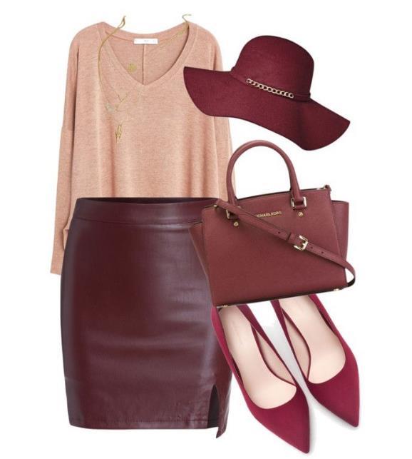 Διάλεξε μια μίντι φούστα σε έντονο κόκκινο η μπορντό χρώμα. Διάλεξε αν θα  είναι στενή ή σε γραμμή άλφα ανάλογα με το τι σου πηγαίνει. ed23894fba7