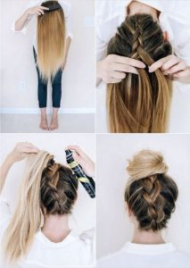 Ξεκινήστε με το βούρτσισμα τα μαλλιά σας για να απαλλαγούμε από τυχόν μπερδέματα ή κόμβους. Γυρίστε το κεφάλι σας ανάποδα, και να συνεχίσει να βουρτσίζετε τα μαλλιά σας. Πάρτε μια μεγάλη τούφα από τα μαλλιά σας από τη μέση, και το χωρίσετε σε τρία μέρη για να αρχίσουμε να κάνουμε μια πλεξούδα, αφήνοντας τα υπόλοιπα μαλλιά σας χαλαρά. Braid σε όλη τη διαδρομή προς τα άκρα σας, στη συνέχεια, σηκώστε τα μαλλιά σας επάνω σε μια αλογοουρά και στερεώστε το με ένα λαστιχάκι. Βουρτσίστε αλογοουρά σας προς την αντίθετη κατεύθυνση για να δώσει κάποια ένταση. Τυλίξτε τα μαλλιά σας σε ένα κουλούρι και ασφαλίστε το με μερικές φουρκέτες. Εάν αισθάνεστε η πλεξούδα είναι λίγο πολύ σφιχτό, απλά χαλαρώστε λίγο, τραβώντας το προσεκτικά χώρια.