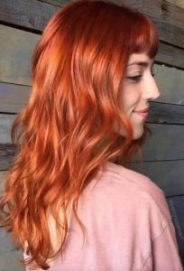 shiny copper hair