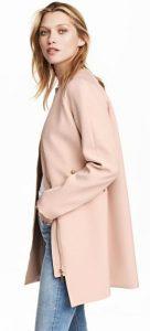roz palto makri ginaikeio h&m