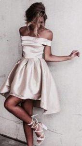 champagne off shoulder dress