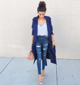 navy blue kabardina, nude aksesouar, chic look