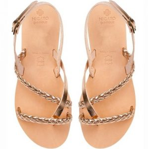 rosegold dermatino sandali