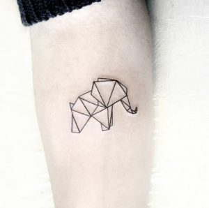 origami tattoo elefantas