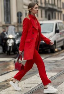 total red look, lefka sneakers