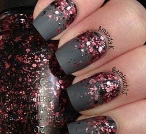 gkri mat manicure, roz glitter