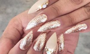 gold almond shape nails