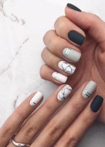b&w manicure