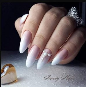 pink and white manicure