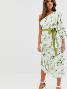 floral ασύμμετρο φόρεμα