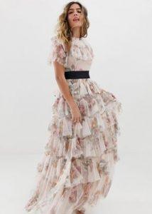 floral φόρεμα με φρου φρου