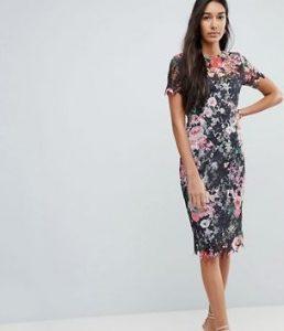 floral φόρεμα, ίσια γραμμή