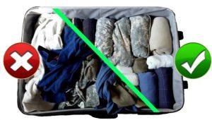διπλωμένα ρούχα σε βαλίτσα