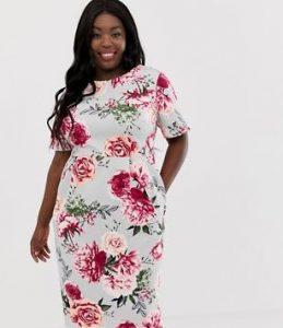 κοντομάνικο floral φόρεμα