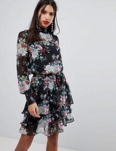 μαύρο floral φόρεμα