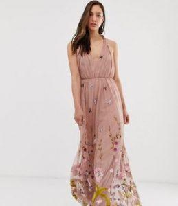 μάξι ροζ φόρεμα