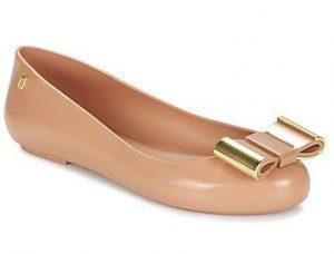 μπαλαρινα μπεζ ροζ με χρυσο φιογκο