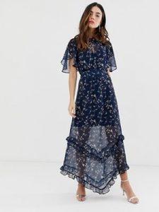 μπλε floral φόρεμα