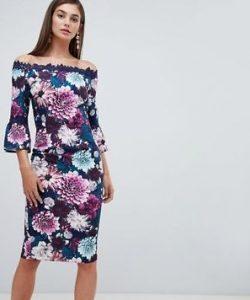 μπλε φόρεμα, μοβ λουλούδια
