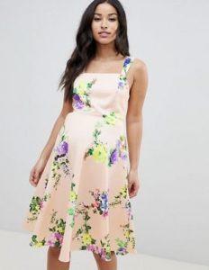 σομόν floral φόρεμα