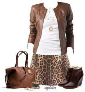 συνδυασμός λεοπάρ με καφέ ρούχα