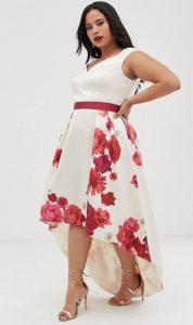 floral λευκό plus size φόρεμα