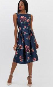 μπλε σκούρο floral φόρεμα
